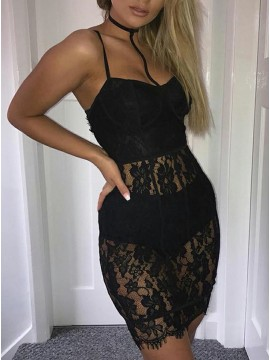 Sheath Spaghetti Straps Short Black Lace Cocktail Dress