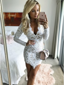 Sheath V-Neck Long Sleeves White Lace Cocktail Dress