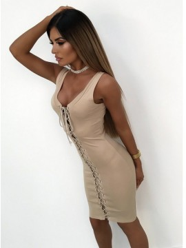 Sheath Scoop Lace-Up Front Light Champagne Cocktail Dress