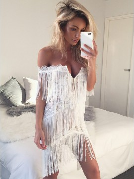 Sheath Off-the-Shoulder Short Cocktail Dress with Tassel Lace