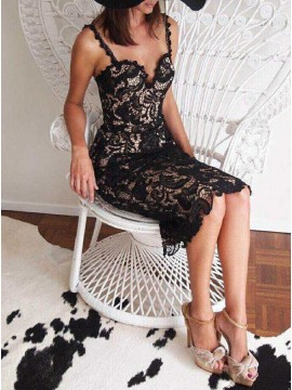 Sheath Spaghetti Straps Knee-Length Black Lace Cocktail Dress