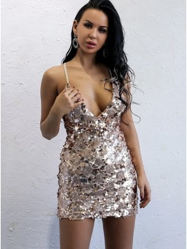 Sheath Spaghetti Straps Short Champagne Sequined Cocktail Dress