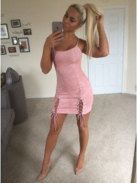 Sheath Round Neck Short Pink Suede Cocktail Dress