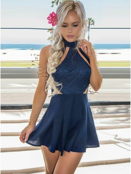 A-Line High Neck Short Dark Blue Chiffon Cocktail Dress with Lace