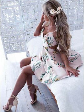 A-Line Spaghetti Straps Backless Short Pearl Pink Floral Cocktail Dress