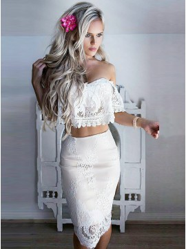Off-the-Shoulder Two Piece Homecoming Dress Short Sleeves Cocktail Dress with Lace