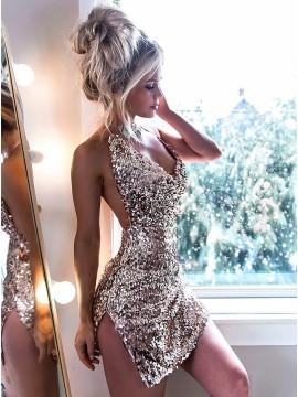 Sheath Halter Backless Champagne Sequined Cocktail Dress