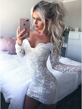 Sheath Off-the-Shoulder Long Sleeves Cocktail Dress with Appliques