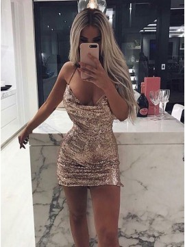 Sheath Halter Backless Short Champagne Sequined Cocktail Dress