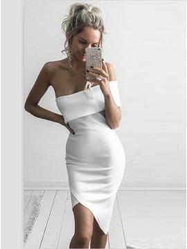 Sheath Off-the-Shoulder Knee-Length White Cocktail Dress