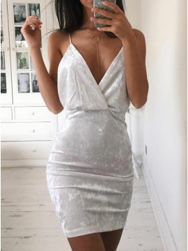 Sheath Spaghetti Straps Short Silver Velvet Cocktail Dress