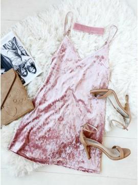A-Line Spaghetti Straps Short Pink Velvet Cocktail Dress