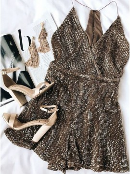A-Line Spaghetti Straps Short Sequined Cocktail Dress