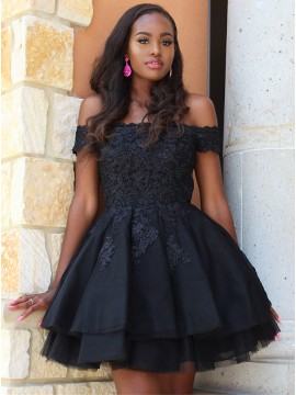 Off-the-Shoulder Short Sleeves Black Homecoming Dress with Appliques