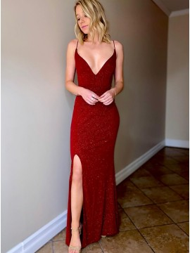 Sexy Evening Dress Dark Red Prom Dress with Split