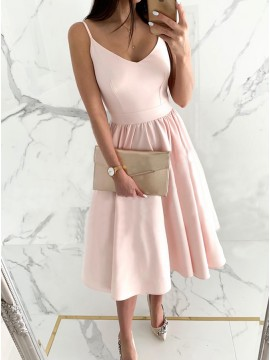 Simple A-Line Short Spaghetti Straps Pink Homecoming Dress