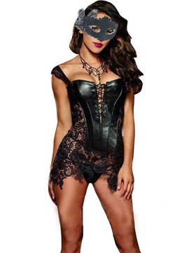 Women Sexy PU Corset Shapewear with Lace