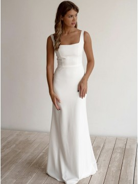 White A-Line Sleeveless Floor-Length Satin Zipper-up Wedding Dress with Bateau Neck