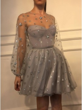 Short A-Line Long Sleeves Grey Homecoming Dress with Sequin