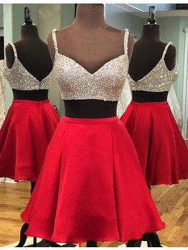Modern Red Two Piece Spaghetti Straps Short Sequins Beading Homecoming Cocktail Dress