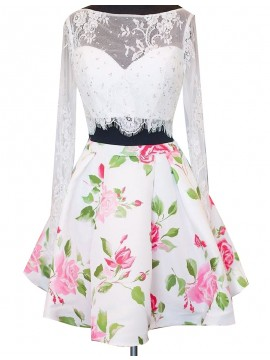 Delicate White Two Piece Bateau Long Sleeeves Floral Beading Lace Short Prom Dress