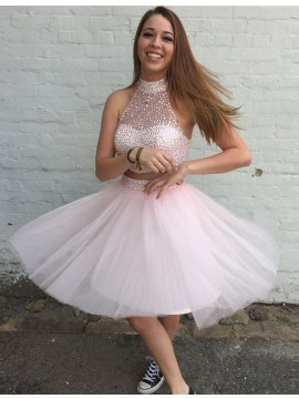 Two Piece High Neck Open Back Beading Pearl Pink Homecoming Cocktail Dress