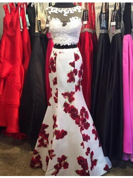 Elegant White Two Piece Bateau Floor-Length Floral with Lace Prom Dress