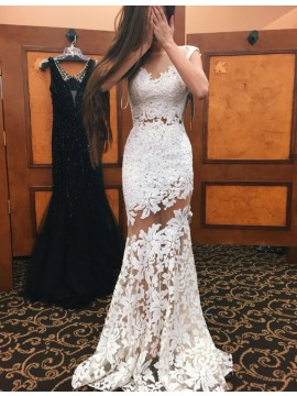 Elegant White Mermaid Bateau Sleeveless Floor-Length Lace Prom Dress