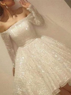 Asymmetrical Off the Shoulder Sequin White Homecoming Dress Long Sleeves High Low Prom Dress