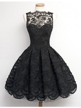 Chic Black A-Line Bateau Sleeveless Above-Knee Lace Prom Dress