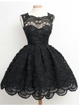 Modern Black A-Line Square Sleeveless Above-Knee Lace Homecoming Dress