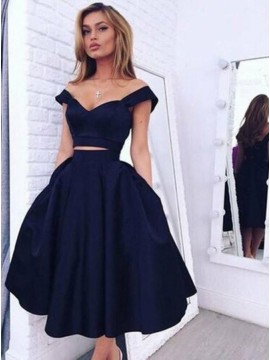 Modern Navy Blue Off the Shoulder Mid-Calf Open Back Pleats Prom Dress