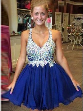 Royal Blue A-line Deep V-neck Beading Pleated Short Homecoming Cocktail Dress