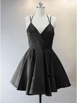 A-Line V-Neck Short Black Satin Homecoming Dress