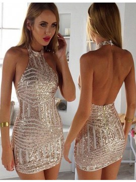 Sheath Halter Backless Gold Sequined Short Cocktail Dress