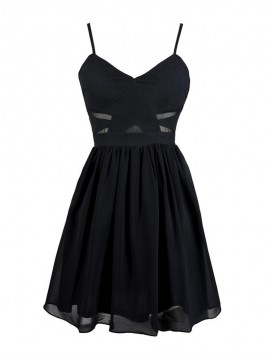 Simple Black Spaghetti Straps Sleeveless Pleats Short Homecoming Cocktail Dress