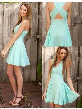 Simple Deep V-Neck Sleeveless Criss-Cross Straps Short Prom Dress