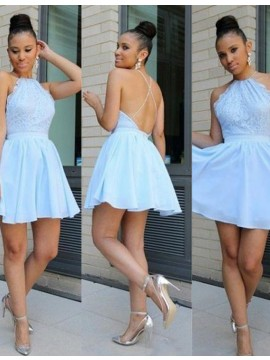 Light Blue Lace Jewel Backless Sleeveless Short Homecoming Cocktail Dress