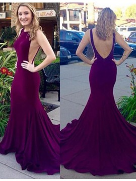 Elegant Grape Mermaid Round Neck Sweep Train Backless Pleats Prom Dress