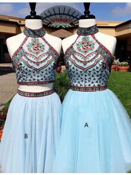 A-line Halter Sleeveless Light Blue Short Prom Homecoming Dress with Embroidery