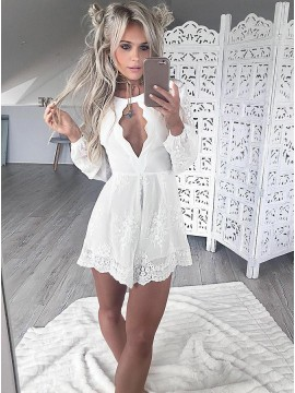 A-Line Round Neck Long Sleeves White Cocktail Dress with Keyhole