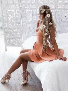 A-Line Spaghetti Straps Short Orange Homecoming Dress