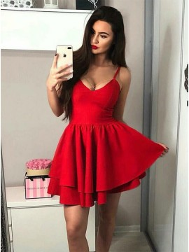 A-Line Spaghetti Straps Short Red Homecoming Dress with Ruched