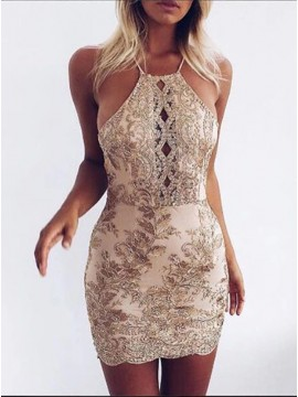 Sheath Halter Criss-Cross Straps Short Champagne Strech Satin Homecoming Dress