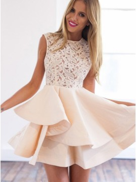 A-Line Crew Sleeveless Short Pearl Pink Stretch Satin Homecoming Dress with Lace