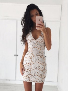 Sheath V-Neck Sleeveless Short Ivory Lace Homecoming Dress