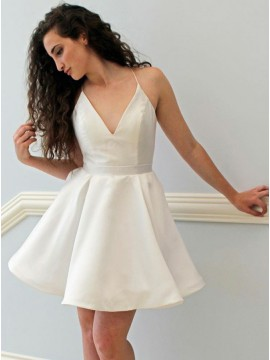 A-Line Spaghetti Straps White Satin Short Homecoming Dress