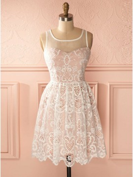 A-Line Square Neck Sleeveless Short Pink Lace Homecoming Dress