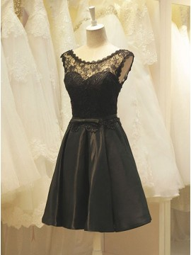 A-Line Crew Neck Black Satin Homecoming Dress with Lace
