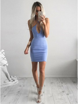 Bodycon Cross Neck Short Blue Homecoming Dress with Keyhole